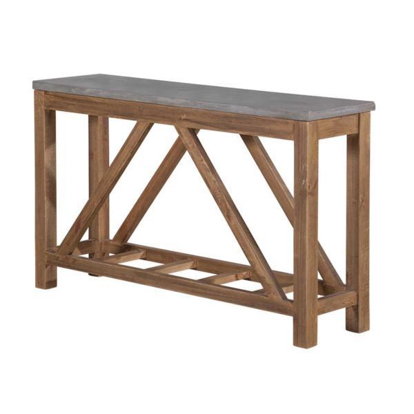Queens sivupöytä, betonikansi/ruskea runko - Mööpeli.com